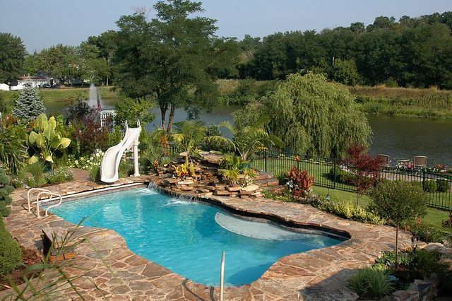 Backyard Getaways Brisbane : Can you believe this is in Chicago Land? Shotcrete Pool with slide and