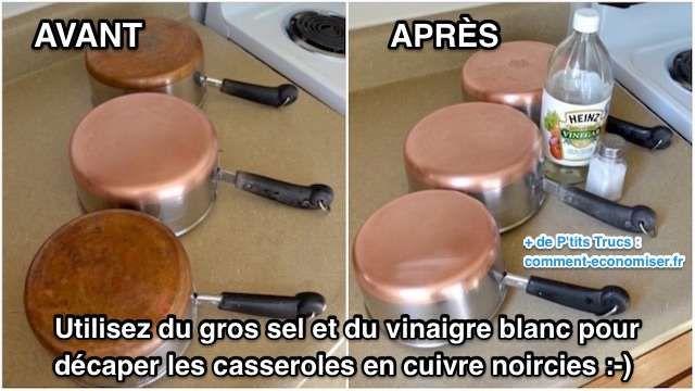 Vos vieilles casseroles en cuivre ont noirci ? Heureusement, il existe un truc magique et naturel pour décaper sans effort une casserole en cuivre, même très sale. L'astuce est d'utiliser du gros sel et du vinaigre blanc.   Découvrez l'astuce ici : http://www.comment-economiser.fr/astuce-pour-que-casseroles-en-cuivre-retrouve-eclat.html?utm_content=buffercdb57&utm_medium=social&utm_source=pinterest.com&utm_campaign=buffer
