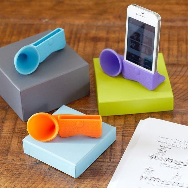 -Jazzy- Silicone Horn Speaker. Would be a cheap and easy way to make speakers out of your phone for music or calls.
