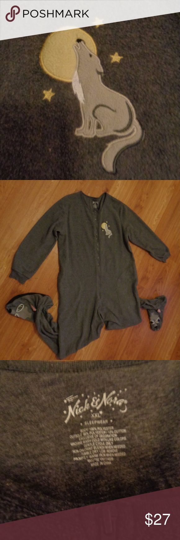 NICK and NORA Footed Wolf Pajamas XXL SO cute! Fleece footed wolf pajamas from Nick and Nora size XXL.   From a smoke free home.  Check out my other listings! I give discounts for bundles!!! Nick & Nora Intimates & Sleepwear Pajamas
