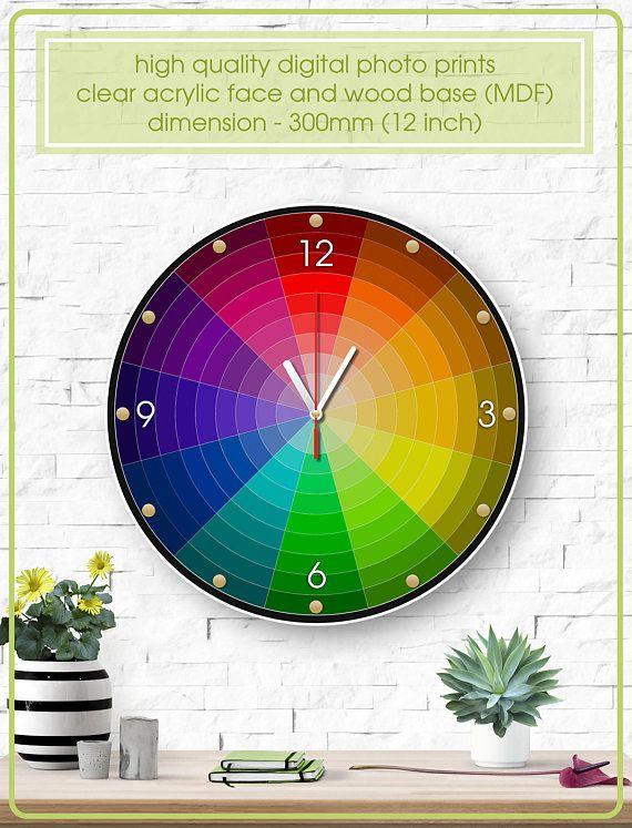 Colorful Wall Clock Color Wheel Clock Acrylic Clock Unique Gift