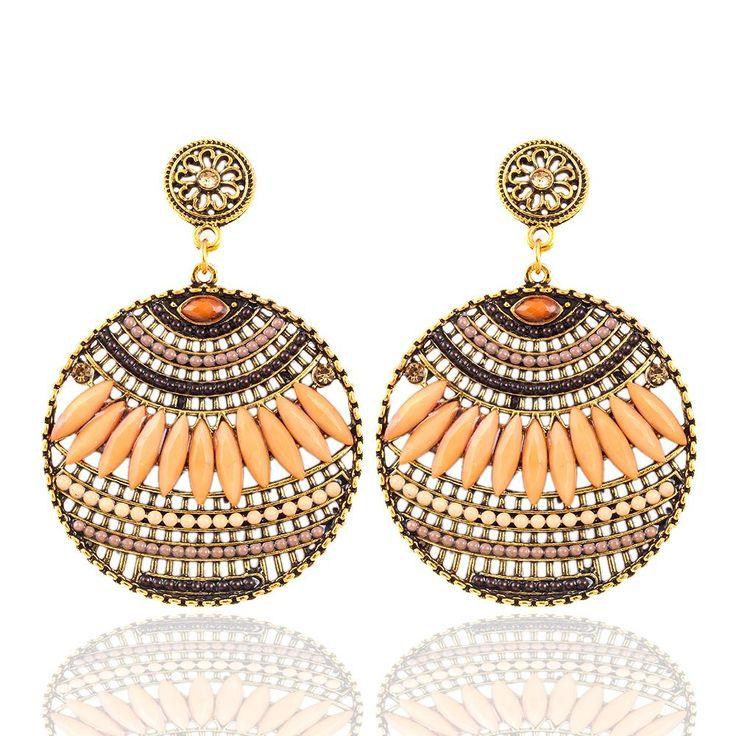 2,43 - Vintage Bohemia Drop Style Earring Resin Heart Beaded Earrings Dangle Earrings des boucles d'oreilles - Crystal shop