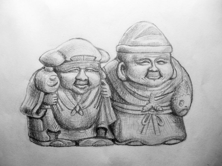 Daikoku and ebisu netske very famous characters they are happiness and · pencil sketchingpencil