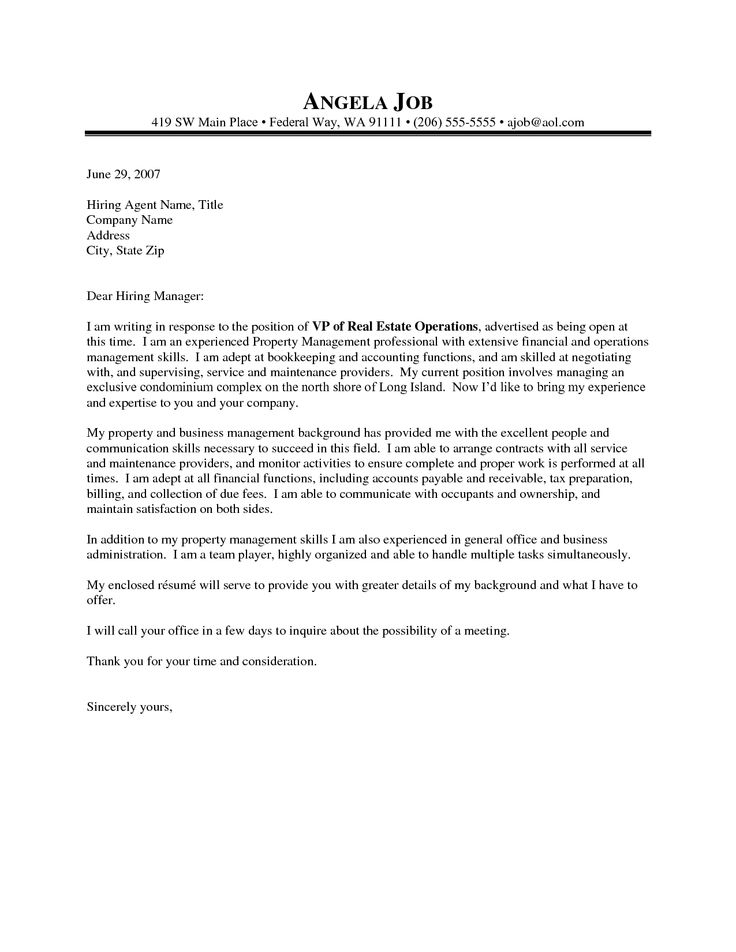 Bookkeeper Cover Letter Sample - http\/\/wwwresumecareerinfo - property management cover letter