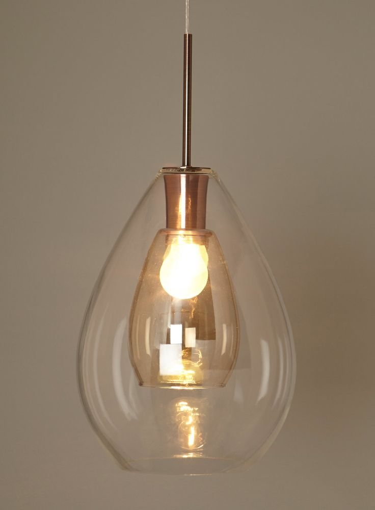 Carmella pendant, couble walled glass in clear and copper finish 63cm * 25 cm