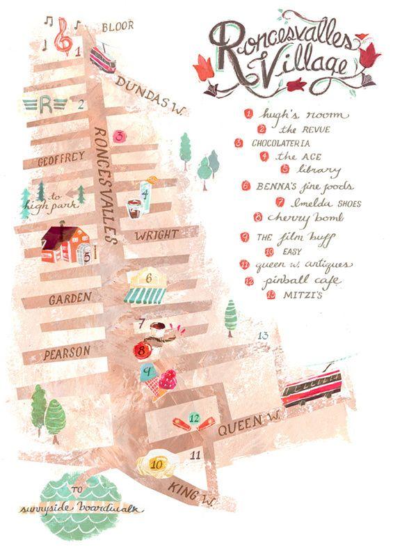 Meredith Sadler - map of Roncesvalles Village Toronto