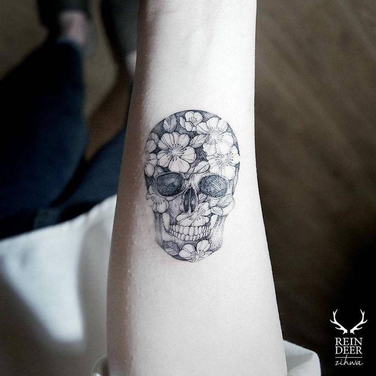 Little Tattoos — Flower skull tattoo on the right inner arm. Tattoo...