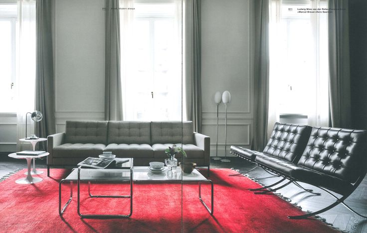Florence Knoll sofa + Barcelona Chairs + Tulip side tables + Laccio coffee and side table