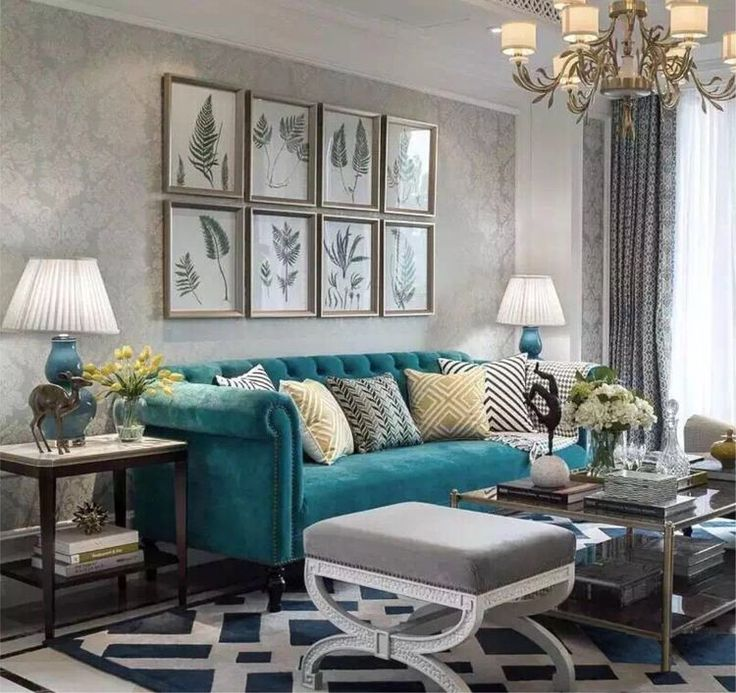 Teal And Grey Are Such An Elegant Combination In A Living Room
