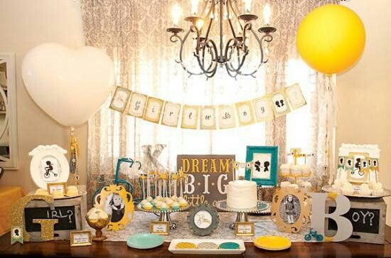 decoracao azul e amarelo para cha de bebe:Vintage Gender Reveal Party