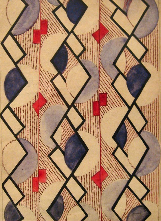 Suprematist pattern design by Olga Rozanova, ca.1917-18, Moscow.