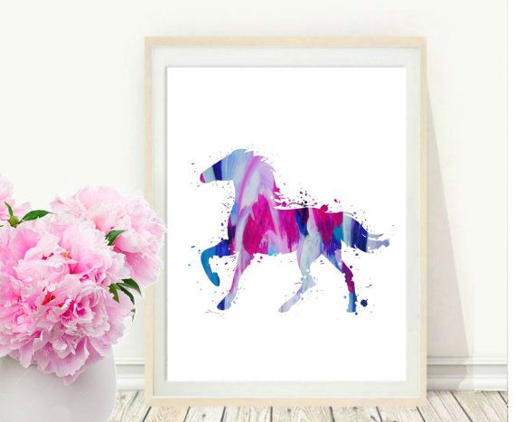 Horse Print, Printable Wall Art, Watercolor Horse, Pink and blue Wall Art, Modern Wall Print Instant Download, Wall Decor  This is a digital file, ready for instant download. It can be printed on your own computer, by your local print/photo shop,or have it printed online.  Your file