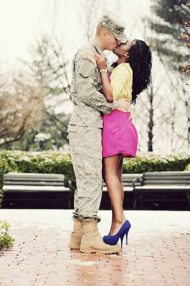 <3 Army love. This will be me. Interracial couples.