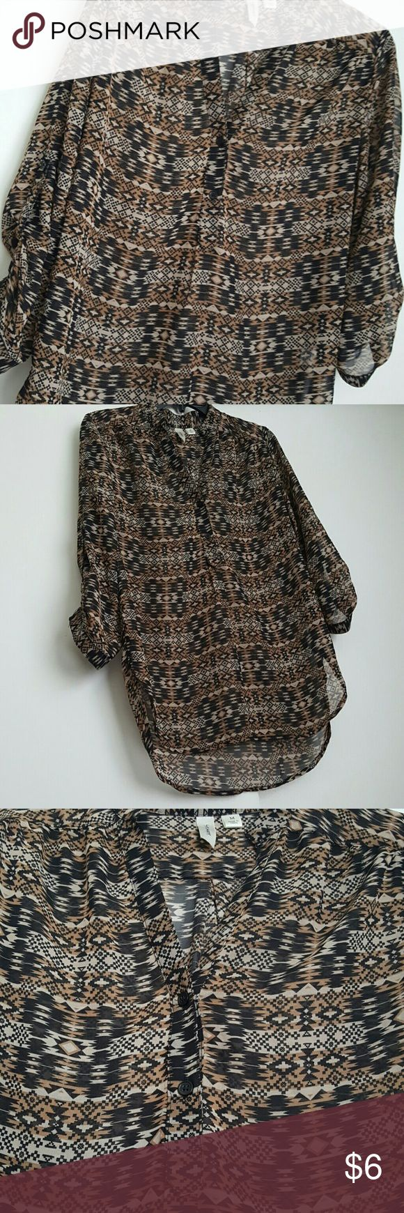 Aztec blouse -Aztec print sheer chiffon style blouse -Long sleeve but you can button it up to make it 3/4 sleeve -Size Medium  -Color is Black, Brown, & Tan -Brand is Tacera  -100% Polyester   **All items come from a smoke free and pet free home  **I do my best to do same day shipping for all purchases made by 3:30pm CST if not I will ship the next day.  Feel free to send offers and check out my other items for bundle discounts :)  ?Have a wonderful day? Tacera Tops Blouses