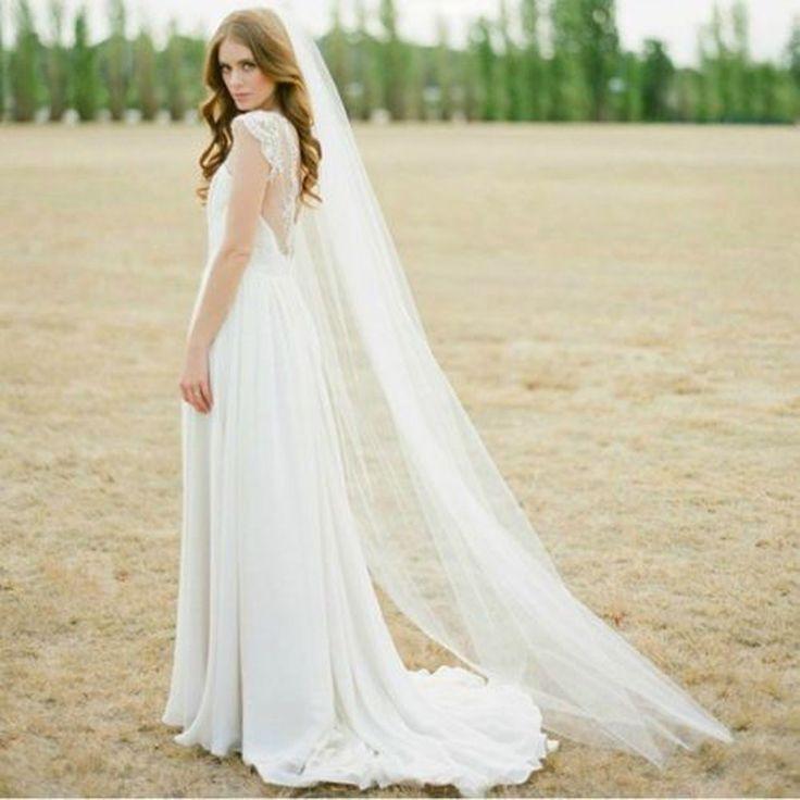 أسعار الجملة سخونة واحد طبقة الحجاب الزفاف الأبيض أو العاج الطابق طول 2 متر الحجاب لحفل الزفاف
