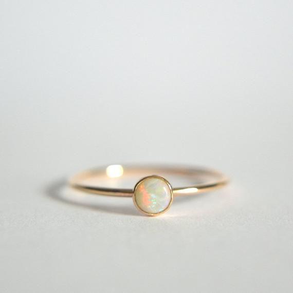 14 K Gold Opalring Opalring Opal Ring Gold Opal Gold Ring