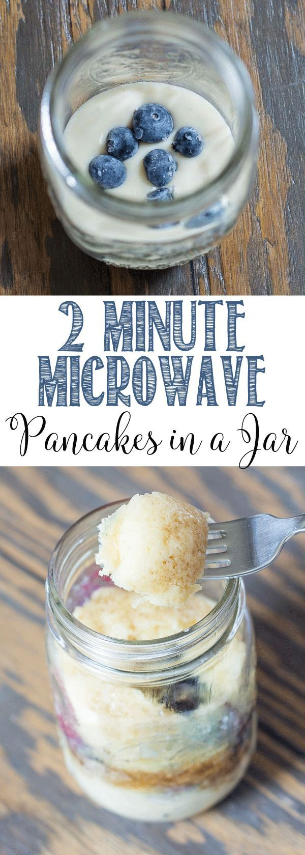 2 Minute Microwave Blueberry Pancakes in a Jar | Prep your breakfast in advance | Mason Jar Pancakes