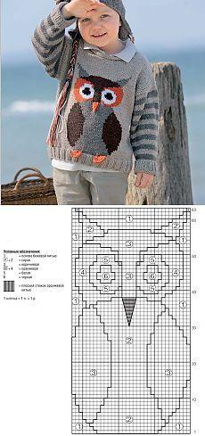 Джемпер с совой - схема вязания спицами. Вяжем Джемперы на Verena.ru