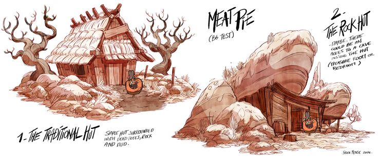 """Meatpie/ Axe man's Hut /2014/Nickelodeon animationSome environments research for the Nickelodeon short """"Meatpie vs the dark ages"""" (created and directed by Gabe Swarr)."""