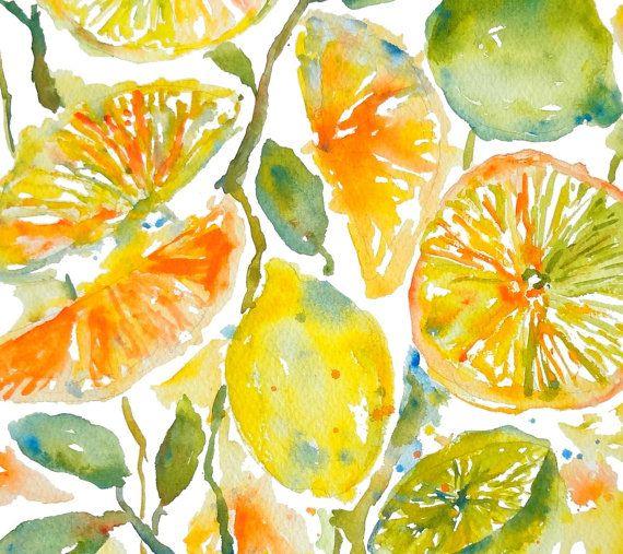 Citrus Garden Watercolor Fruits Orange Lemon