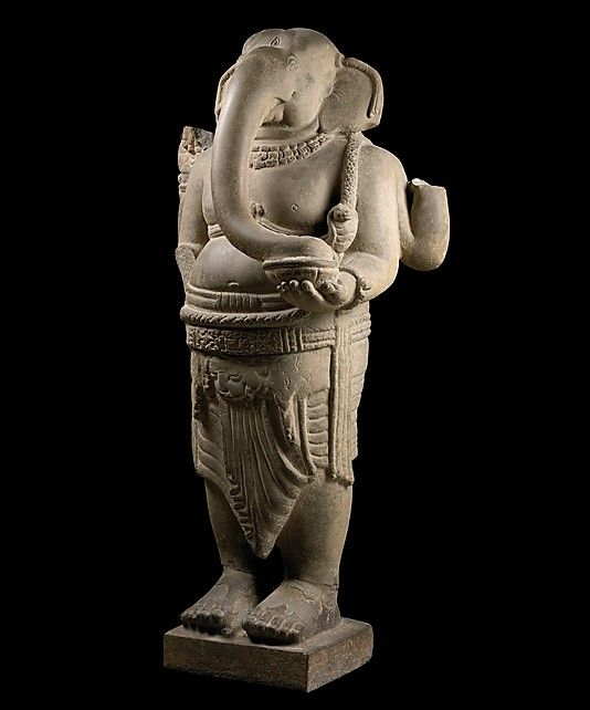 Ganesha, late 7th–8th century. Central Vietnam. Lent by Museum of Cham Sculpture, Da Nang, Vietnam (5.1) | This four-armed form of the elephant-headed son of Shiva and Parvati is among the most sophisticated early Cham sculptures. #LostKingdoms