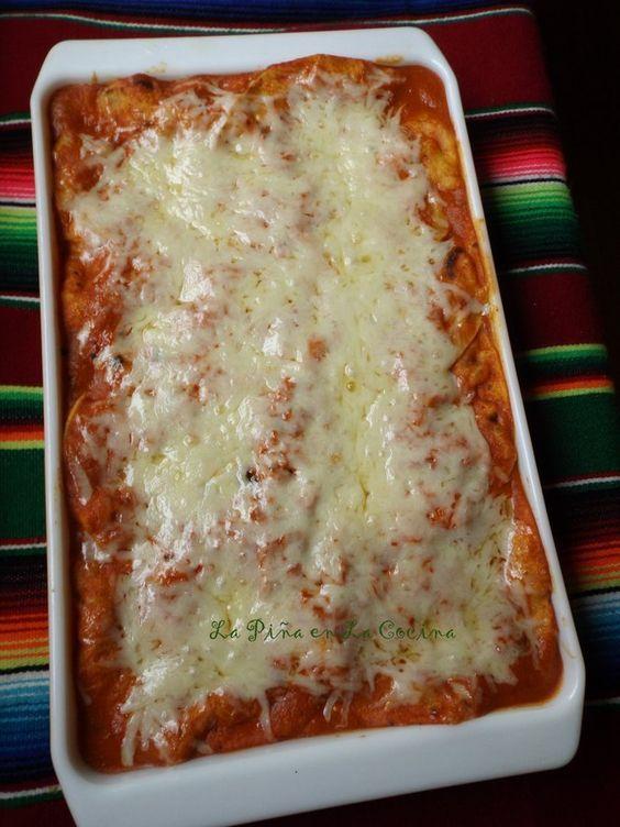 Enchiladas Suizas Rojas-Layered Chicken or Veggie Enchiladas