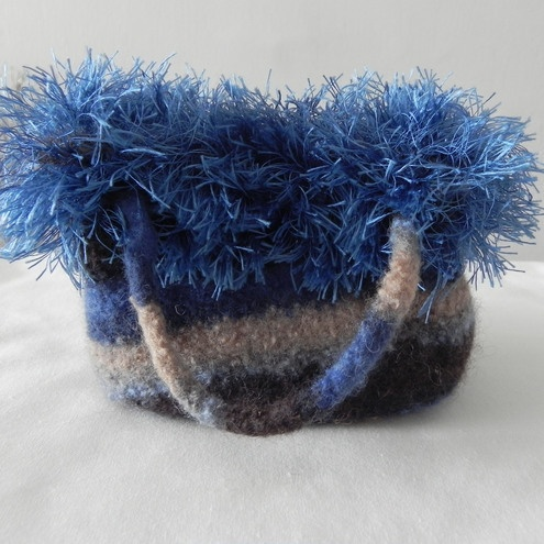 Blue stripey knitted and felted bag with fringe - Folksy