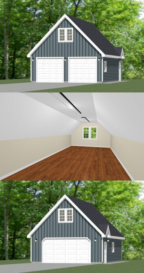 24x30 2 Car Garage 24x30g11h 1 123 Sq Ft Excellent Floor Plans Garage In 2019