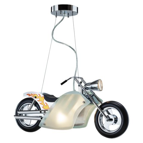 Chopper- Lighting For kids room From Tisva, Usha International Ltd.  MATERIAL : STEEL, PLASTIC & GLASS COLOR : BROWN DIMENSIONS : 550X170X800 MM INSTALLATION : CEILING MOUNTED COOL AND UNIQUE BIKE DESIGN FOR THE TOUGH RIDERS COMBINATION OF HIGH QUALITY METAL AND GLASS ELECTRICAL FIXTURE, NOT A TOY. EASY HEIGHT ADJUSTMENT DURING INSTALLATION MADE FROM NON-TOXIC MATERIAL