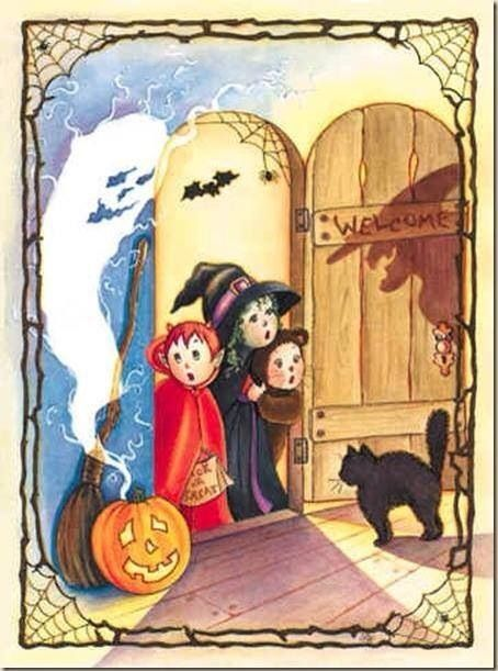 Such a cute vintage Halloween card front!