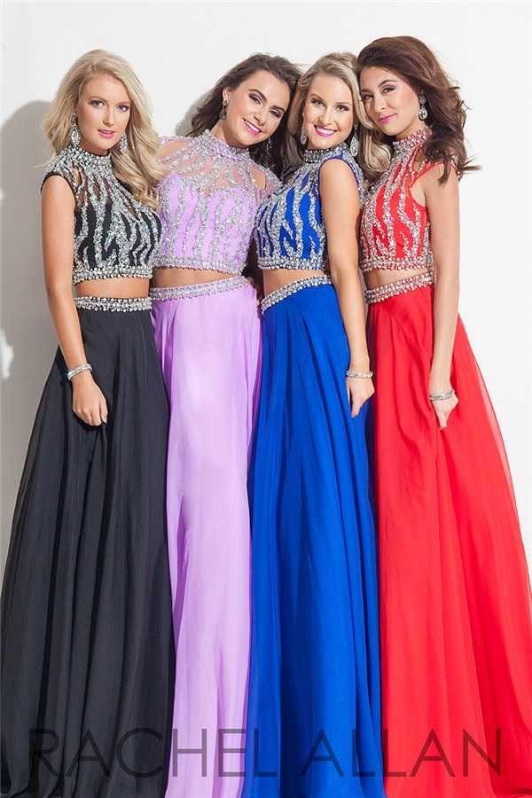 Dazzling Beaded Long Rachel Allan 7255 Two Piece Prom Dresses Hotsale