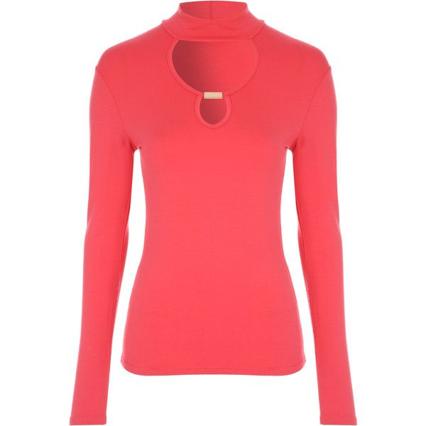 Coral Long Sleeve Cut-Out Top ❤ liked on Polyvore featuring tops, long sleeve cutout top, cut-out tops, red top, long sleeve tops and cutout tops