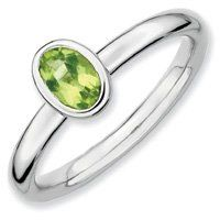 0.5ct Captivating Silver Stackable Oval Peridot Ring. Sizes 5-10 Available Jewelry Pot. $22.99. 30 Day Money Back Guarantee. All Genuine Diamonds, Gemstones, Materials, and Precious Metals. Fabulous Promotions and Discounts!. Your item will be shipped the same or next weekday!. 100% Satisfaction Guarantee. Questions? Call 866-923-4446