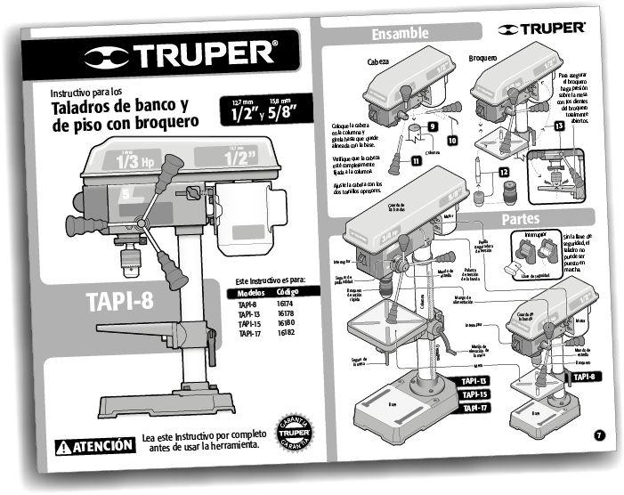 Primer ejemplar de la serie de instructivos rediseñados para herramientas TRUPER.
