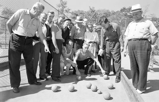 Corona Italian-Americans posing in the bocce court. 1960, NYC Dept. of Parks and Recreation archives