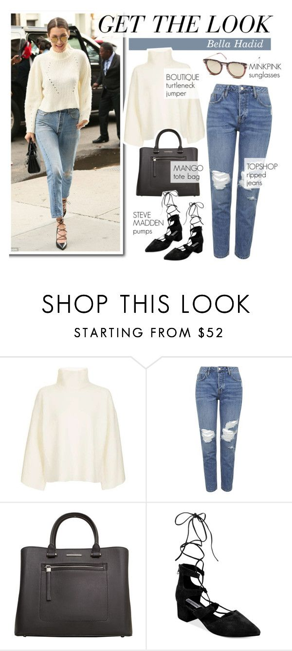 Get the look: Bella Hadid by ferned on Polyvore featuring Topshop, Steve Madden, MANGO, MINKPINK, GetTheLook and bellahadid
