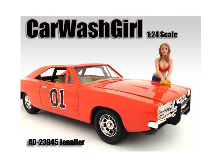 Car Wash Girl Jennifer Figure For 1:24 Scale Models by American Diorama - Comes in a blister pack. Only one figure will be received. Each standing figure is approximately 3 inches tall.-Weight: 1. Height: 5. Width: 9. Box Weight: 1. Box Width: 9. Box Height: 5. Box Depth: 5
