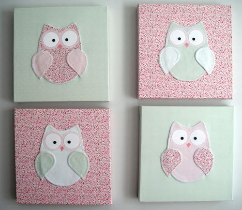 miine.kids seller on EBAY, 9.6.12:    Owl bedroom girl decor pink.Canvas kids / children picture wall decal mobile
