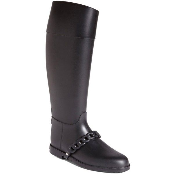 Givenchy 'Eva Chain' Tall Rain Boot ($450) ❤ liked on Polyvore featuring shoes, boots, black leather, leather boots, slip on boots, wellington boots, black leather knee high boots and tall rubber boots