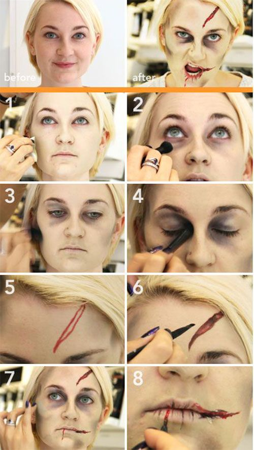 15 Easy Step By Step Halloween Make Up Tutorials For Beginners 2014 | Girlshue
