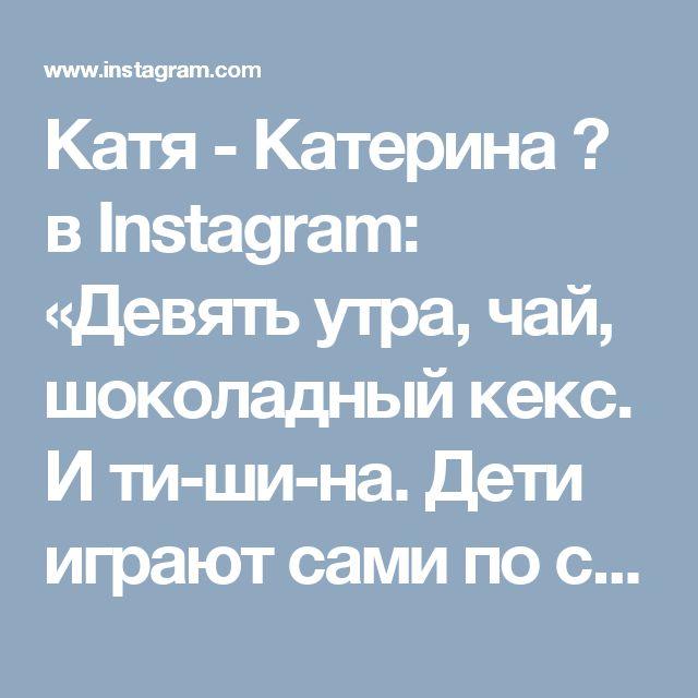Катя - Катерина 💙 в Instagram: «Девять утра, чай, шоколадный кекс. И ти-ши-на. Дети играют сами по себе. Золото, а не дети😏 А, нет, всё. Наигрались. Сава укусил Кирю за жопу, стоят оба орут. Пошла разбираться. Доброе утро, мир! 🤗»