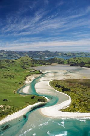 Hoopers Inlet and Allans Beach, Otago Peninsula, Dunedin, South Island, New Zealand - aerial