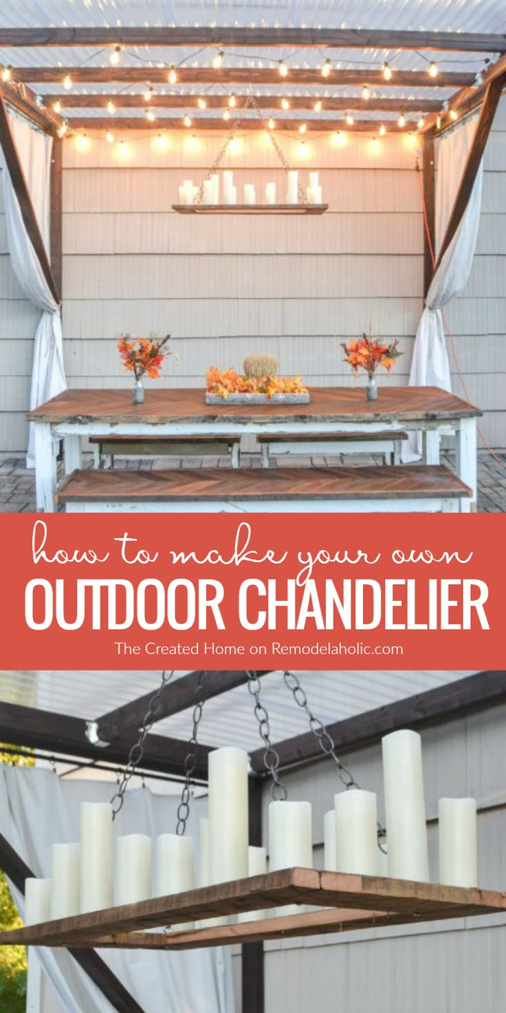 Pin pergola lighting on pinterest - How To Make Your Own Rustic Candle Outdoor Chandelier