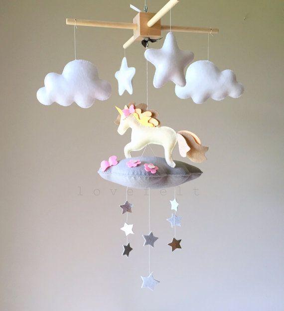 Baby mobile  cloud mobile  unicorn mobile  by GiseleBlakerDesigns