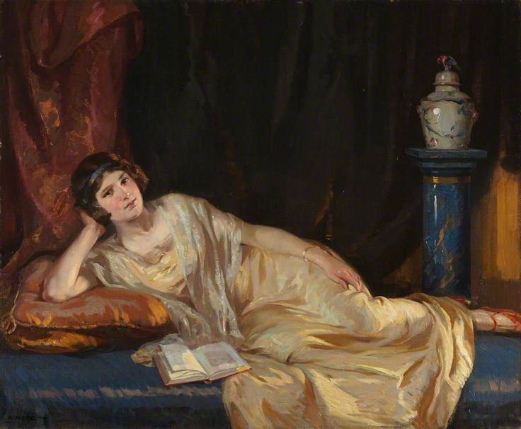Glints of Gold (Miss Dorothy Salvesen) (1924). Robert Hope (Scottish, 1869-1936). Oil on canvas. Royal Scottish Academy of Art & Architecture.  Diploma Work deposit, 1926. Among the younger figure painters, Hope evinces great fertility if modification...
