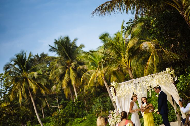 Beach wedding at Song Saa private island resort in Cambodia.