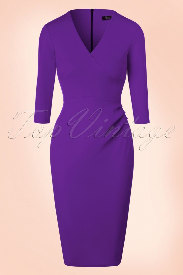 This50s Madison Pencil Dress is just made for you!  A day at the office, a night out with the girls or a fancy party, Madison is super versatile! The beautiful wrap top features flattering 3/4 sleeves, an elegant V-neckline and ruches at the waist that will smartly camouflage any tummy flaws. Made from a lovely supple, stretchy purple fabricthat hugs your curves without marking any problem areas.Madison makes us go mad!   Fitted style Wrap top 3/4 sleeves Flattering p...