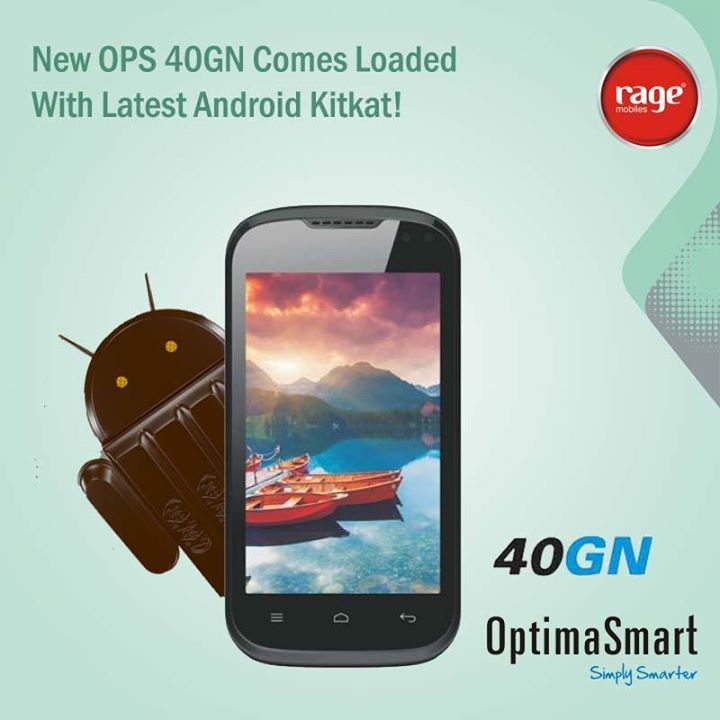 New OPS 40GN Comes Loaded With Latest Android Kitkat!  #OptimaSmart #SmartPhone #RageMobiles   Explore: http://bit.ly/13G8P7A