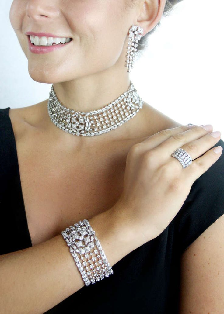 Cartier Paris Important  Marquise Diamond Parure | From a unique collection of vintage more necklaces at https://www.1stdibs.com/jewelry/necklaces/more-necklaces/