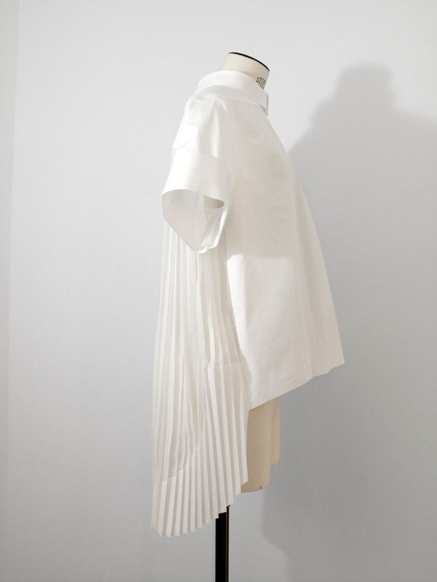 High-low shirt with pleated back - white shirt reinvented; creative sewing; fashion design detail // Celine